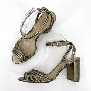 Schultz Nicolai Bronze Metallic Strappy Block Heel